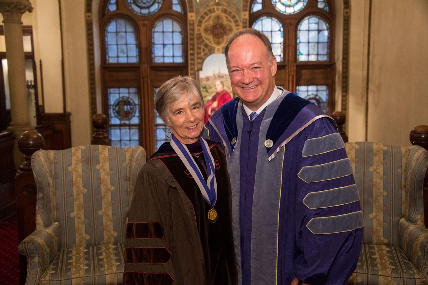 Professor Howard with President DeGioia